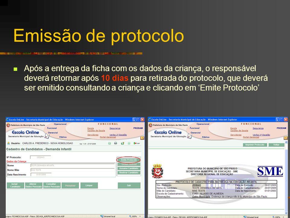 Emissão de protocolo