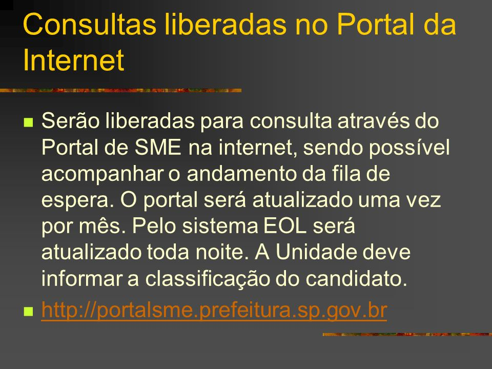 Consultas liberadas no Portal da Internet