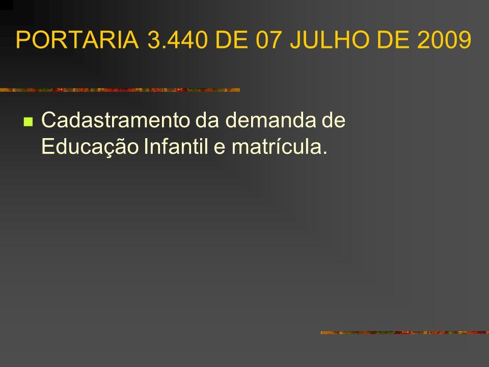 PORTARIA 3.440 DE 07 JULHO DE 2009 Cadastramento da demanda de Educação Infantil e matrícula.