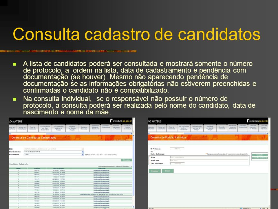 Consulta cadastro de candidatos