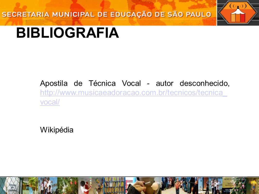 BIBLIOGRAFIAApostila de Técnica Vocal - autor desconhecido, http://www.musicaeadoracao.com.br/tecnicos/tecnica_vocal/