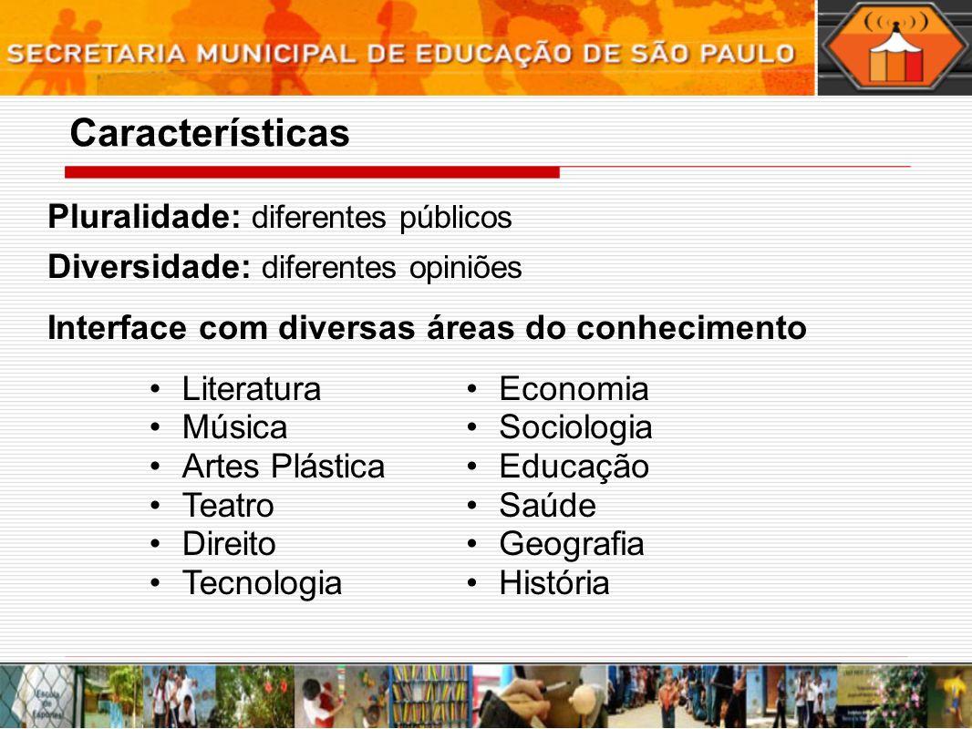 Características Pluralidade: diferentes públicos