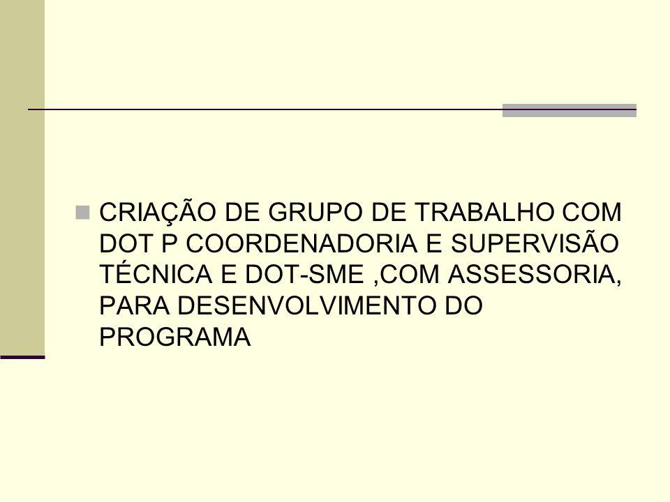 CRIAÇÃO DE GRUPO DE TRABALHO COM DOT P COORDENADORIA E SUPERVISÃO TÉCNICA E DOT-SME ,COM ASSESSORIA, PARA DESENVOLVIMENTO DO PROGRAMA