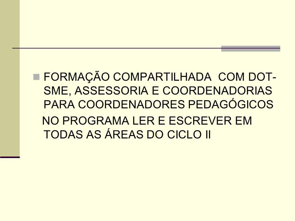 FORMAÇÃO COMPARTILHADA COM DOT-SME, ASSESSORIA E COORDENADORIAS PARA COORDENADORES PEDAGÓGICOS