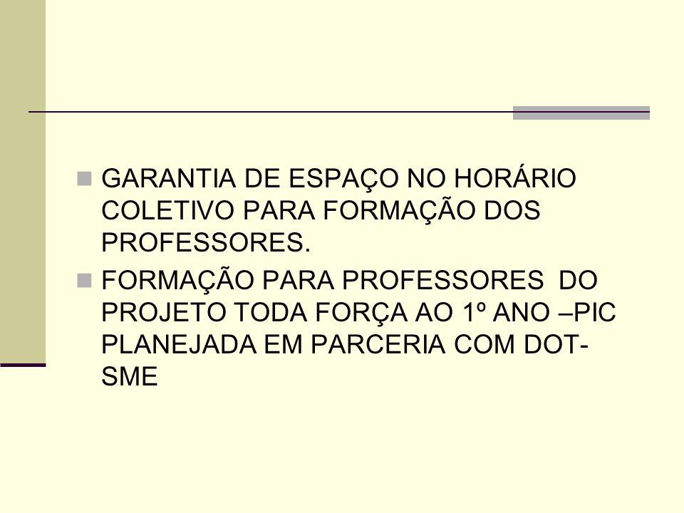 GARANTIA DE ESPAÇO NO HORÁRIO COLETIVO PARA FORMAÇÃO DOS PROFESSORES.
