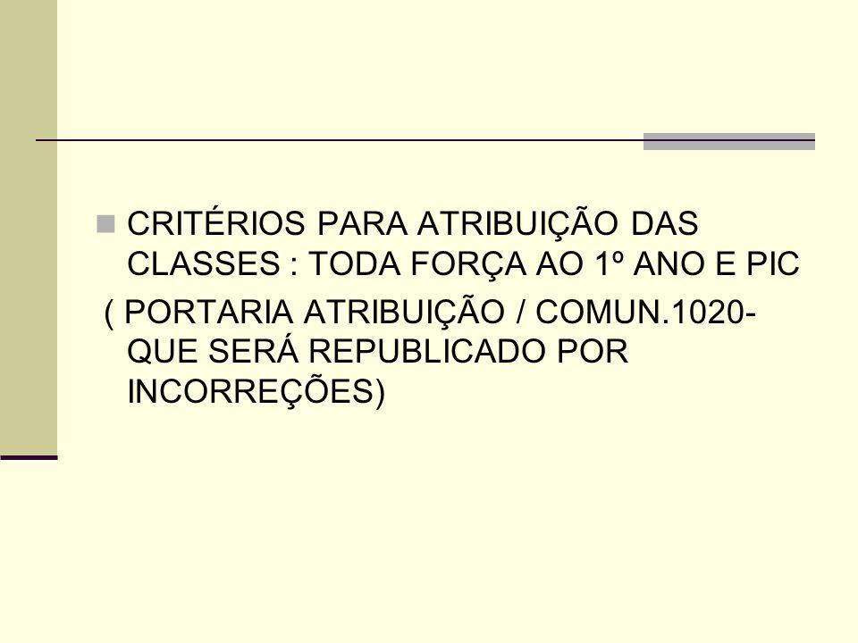 CRITÉRIOS PARA ATRIBUIÇÃO DAS CLASSES : TODA FORÇA AO 1º ANO E PIC