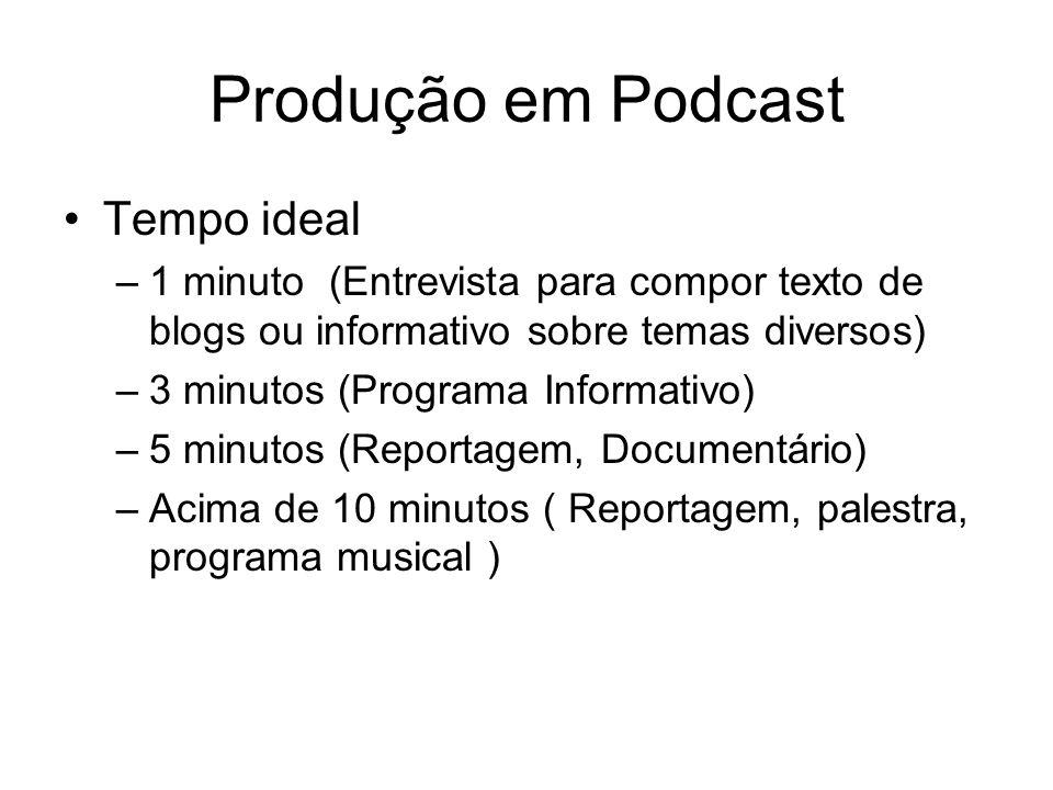 Produção em Podcast Tempo ideal