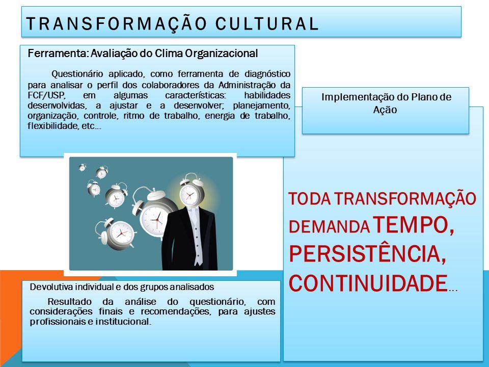 TODA TRANSFORMAÇÃO DEMANDA TEMPO, PERSISTÊNCIA, CONTINUIDADE...