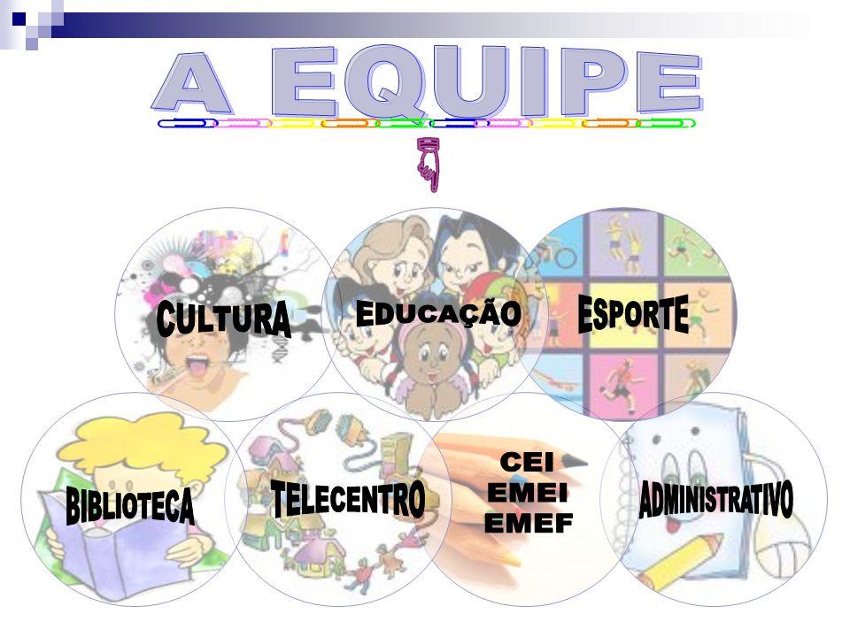 A EQUIPE EDUCAÇÃO BIBLIOTECA CULTURA ESPORTE TELECENTRO CEI EMEI EMEF