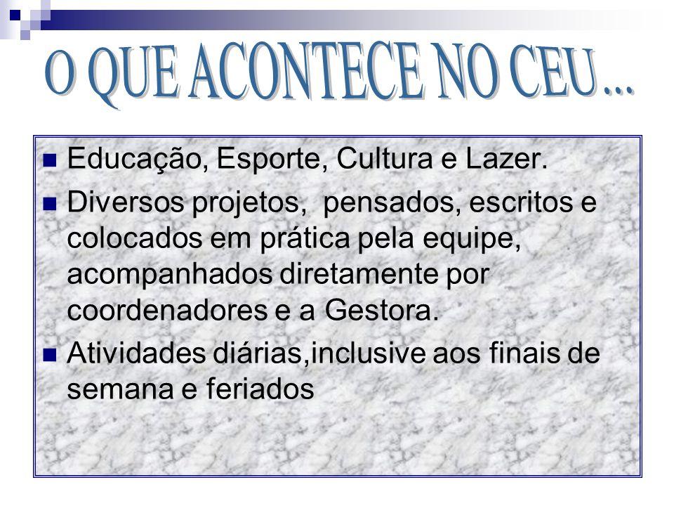 O QUE ACONTECE NO CEU... Educação, Esporte, Cultura e Lazer.