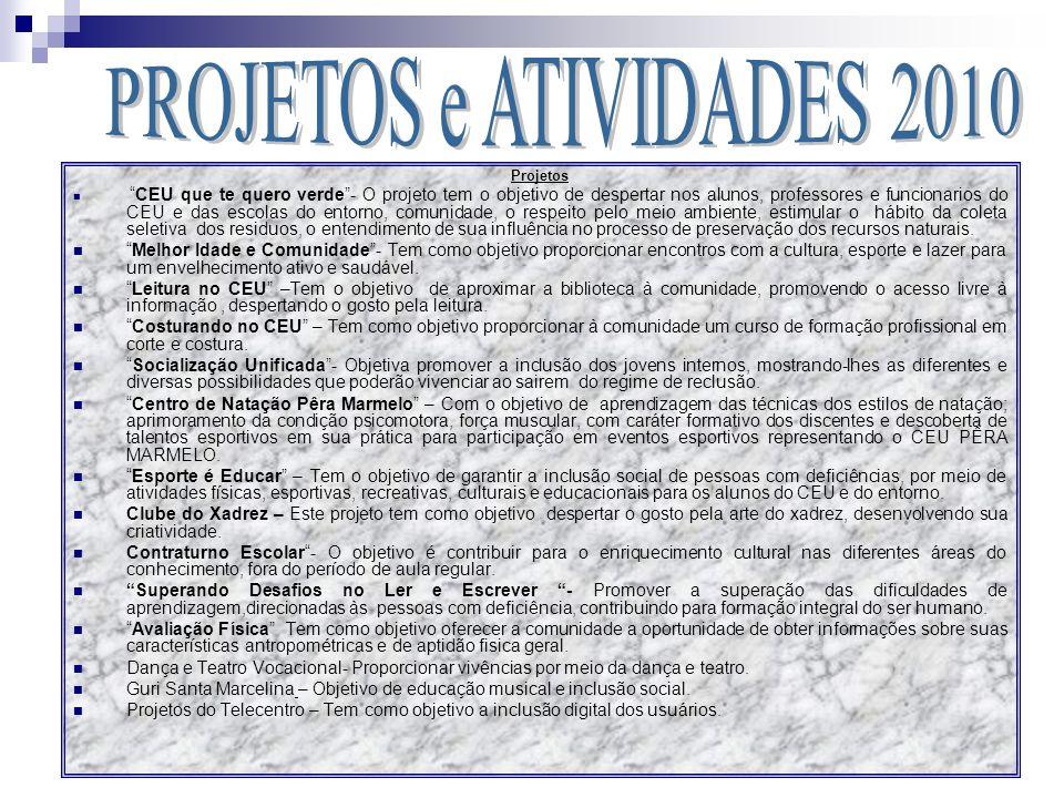 PROJETOS e ATIVIDADES 2010 Projetos.