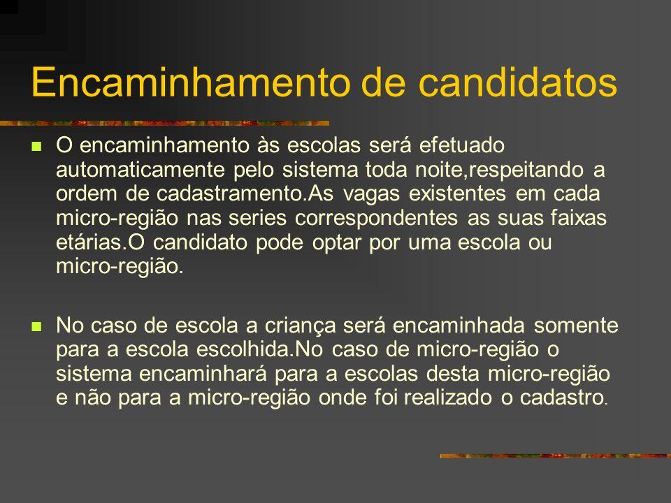 Encaminhamento de candidatos