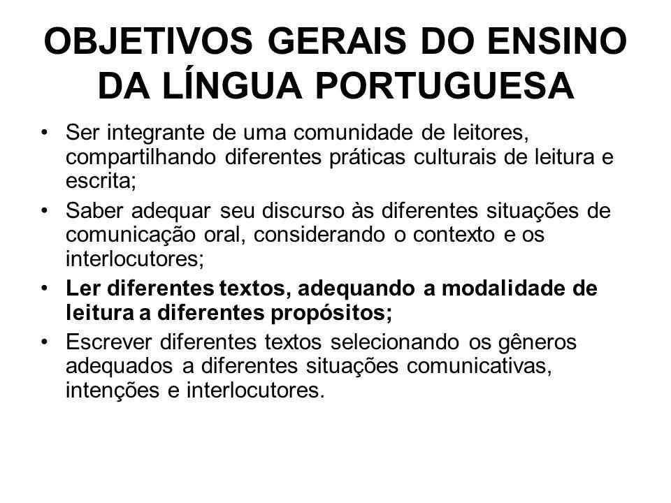 OBJETIVOS GERAIS DO ENSINO DA LÍNGUA PORTUGUESA