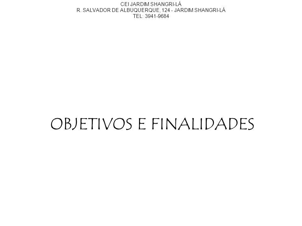 OBJETIVOS E FINALIDADES