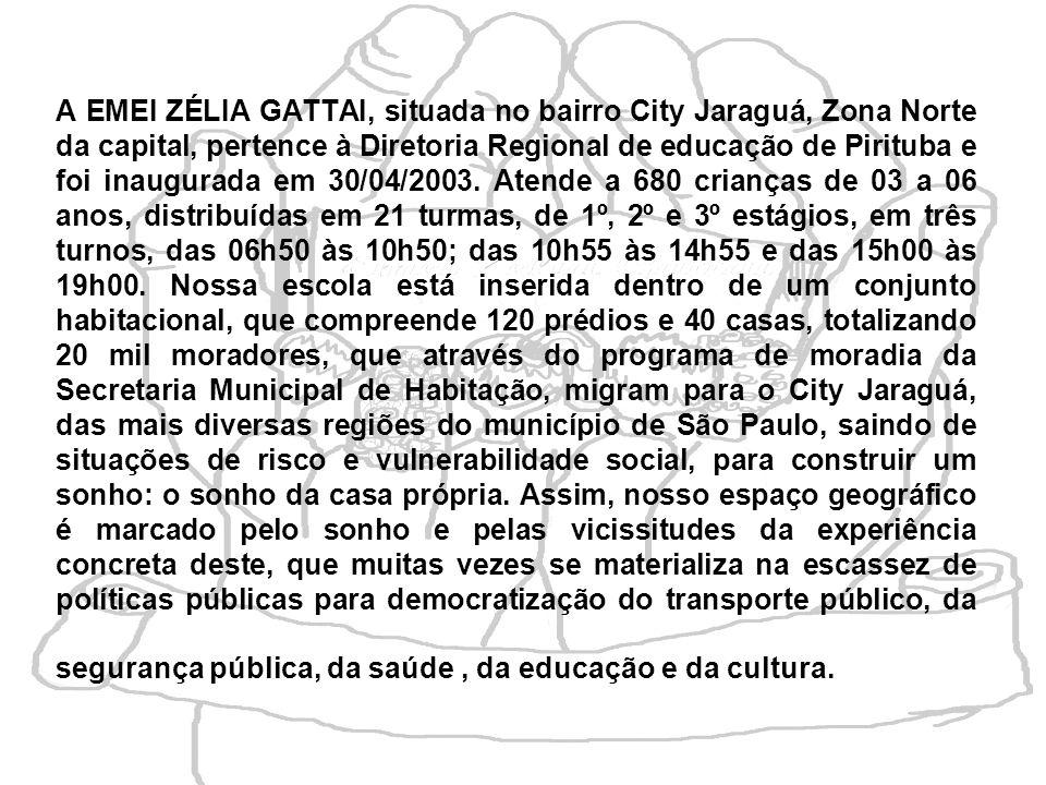 A EMEI ZÉLIA GATTAI, situada no bairro City Jaraguá, Zona Norte da capital, pertence à Diretoria Regional de educação de Pirituba e foi inaugurada em 30/04/2003.