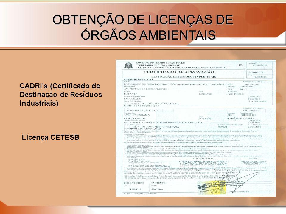 OBTENÇÃO DE LICENÇAS DE ÓRGÃOS AMBIENTAIS