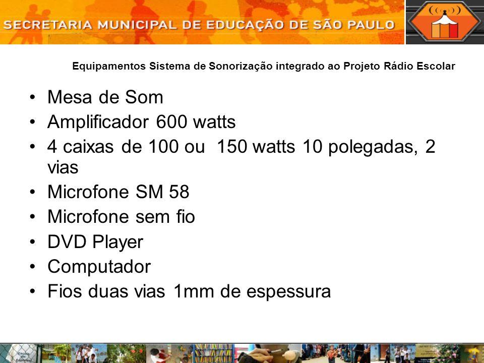 Equipamentos Sistema de Sonorização integrado ao Projeto Rádio Escolar