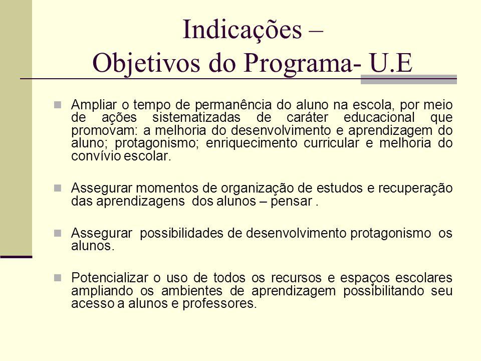 Indicações – Objetivos do Programa- U.E