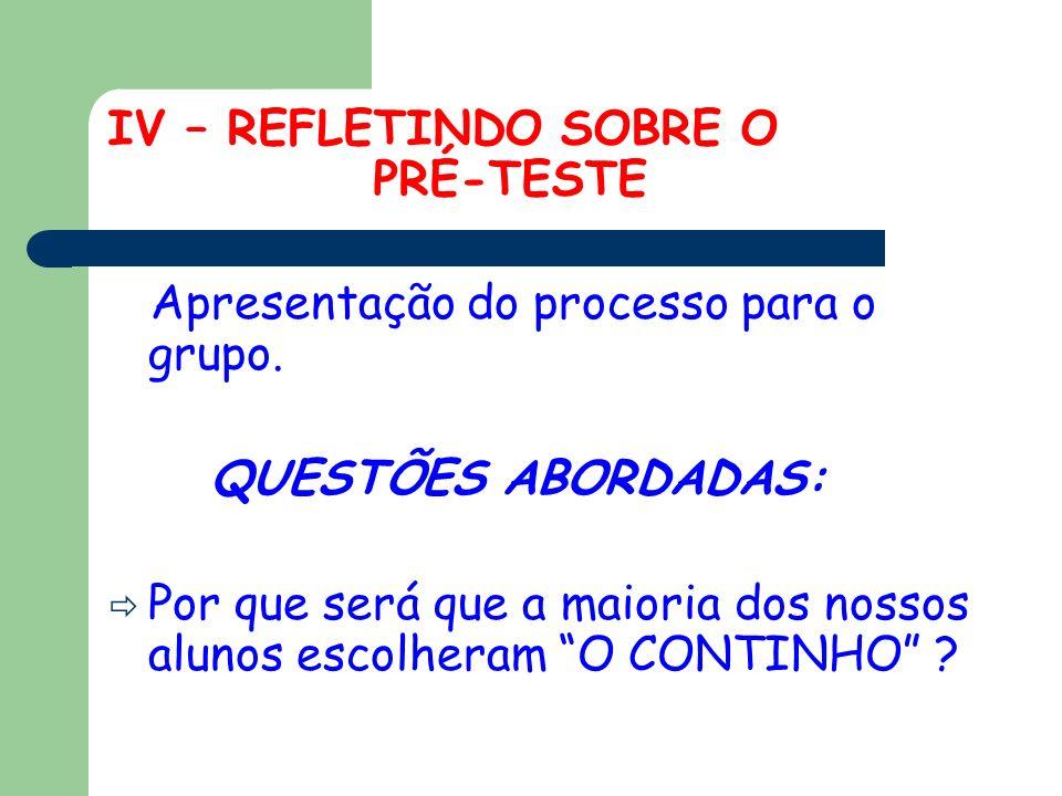 IV – REFLETINDO SOBRE O PRÉ-TESTE