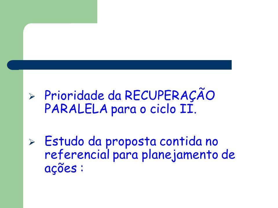 Prioridade da RECUPERAÇÃO PARALELA para o ciclo II.