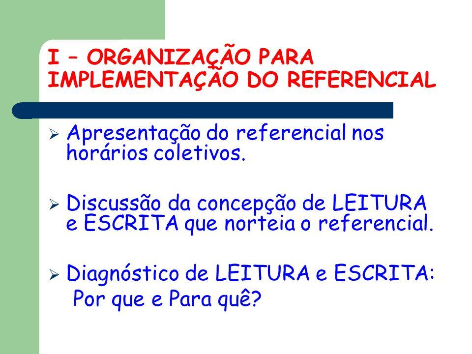 I – ORGANIZAÇÃO PARA IMPLEMENTAÇÃO DO REFERENCIAL