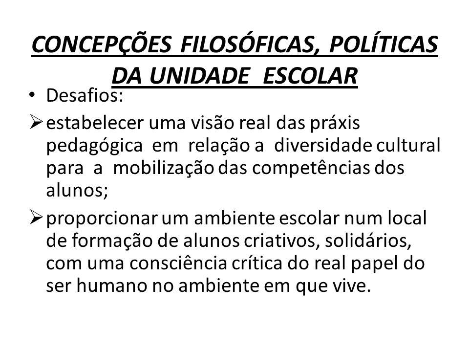 CONCEPÇÕES FILOSÓFICAS, POLÍTICAS DA UNIDADE ESCOLAR