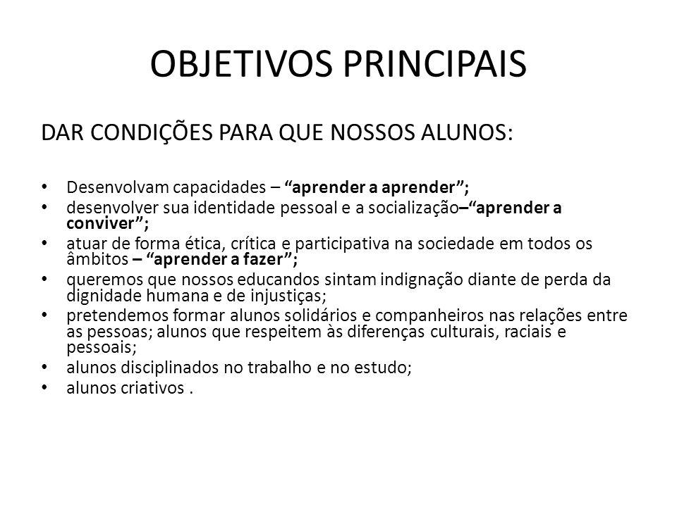 OBJETIVOS PRINCIPAIS DAR CONDIÇÕES PARA QUE NOSSOS ALUNOS: