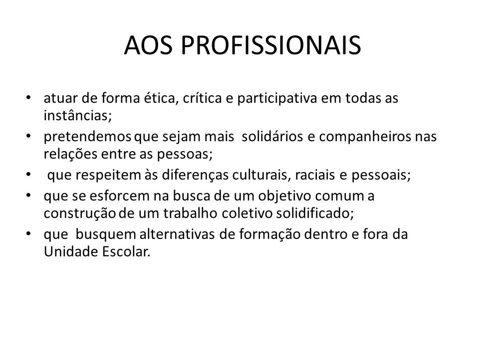 AOS PROFISSIONAIS atuar de forma ética, crítica e participativa em todas as instâncias;