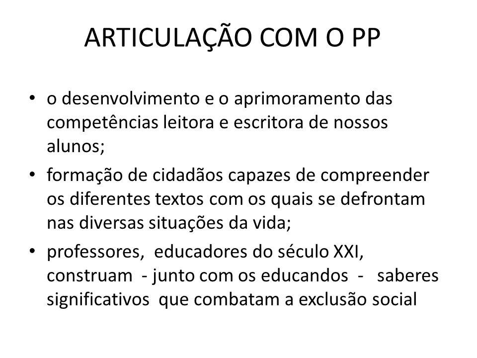 ARTICULAÇÃO COM O PP o desenvolvimento e o aprimoramento das competências leitora e escritora de nossos alunos;