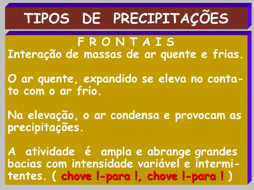 TIPOS DE PRECIPITAÇÕES