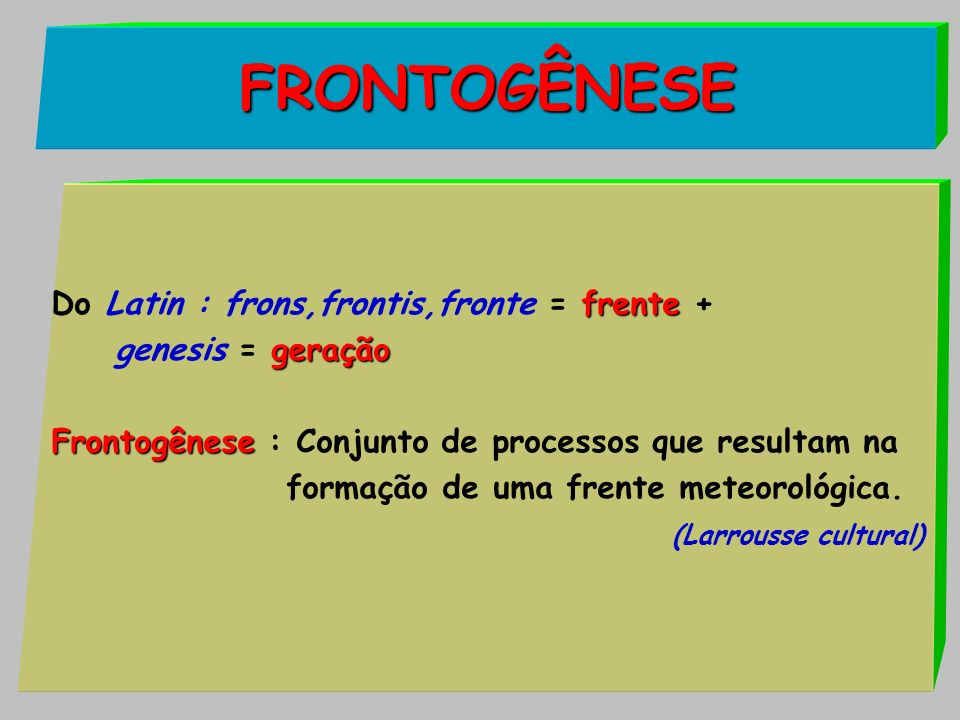 FRONTOGÊNESE Do Latin : frons,frontis,fronte = frente +