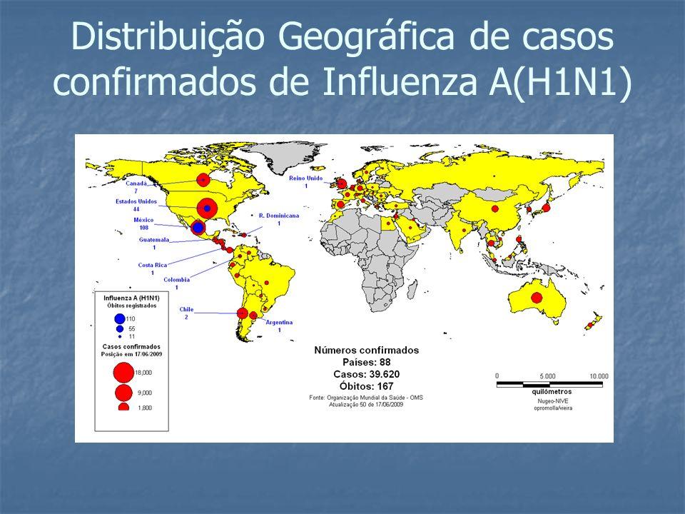 Distribuição Geográfica de casos confirmados de Influenza A(H1N1)