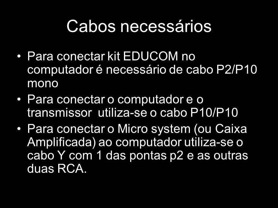 Cabos necessáriosPara conectar kit EDUCOM no computador é necessário de cabo P2/P10 mono.