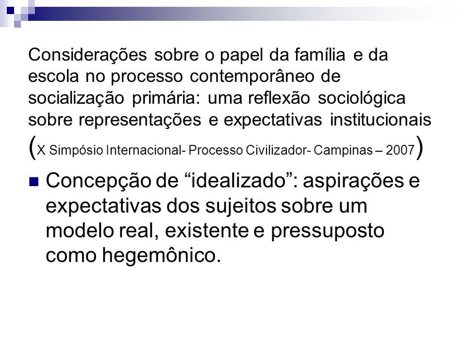 Considerações sobre o papel da família e da escola no processo contemporâneo de socialização primária: uma reflexão sociológica sobre representações e expectativas institucionais (X Simpósio Internacional- Processo Civilizador- Campinas – 2007)