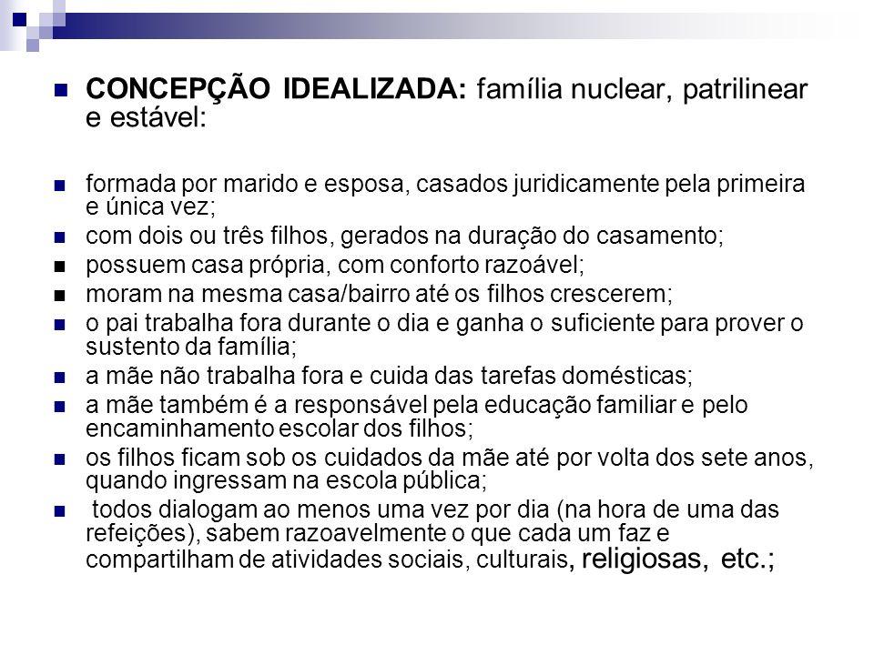 CONCEPÇÃO IDEALIZADA: família nuclear, patrilinear e estável: