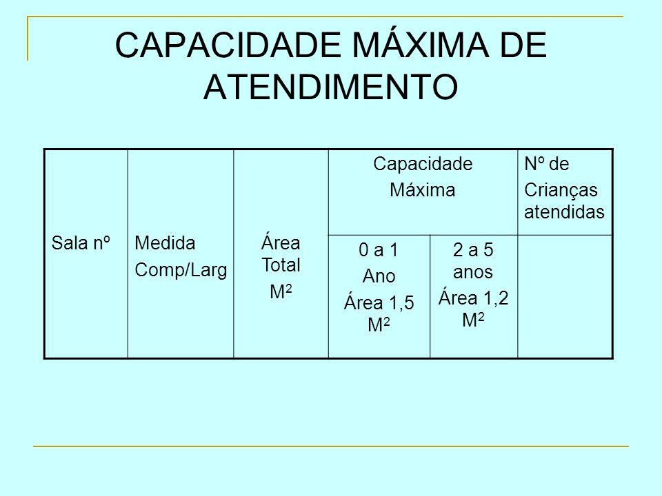 CAPACIDADE MÁXIMA DE ATENDIMENTO