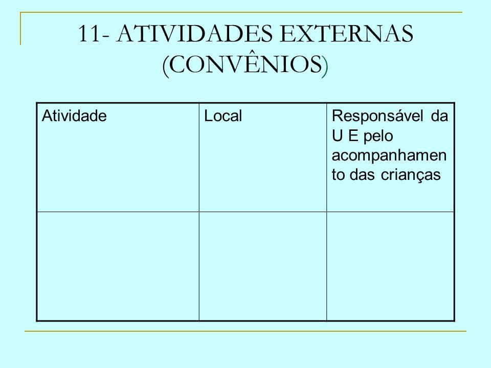 11- ATIVIDADES EXTERNAS (CONVÊNIOS)