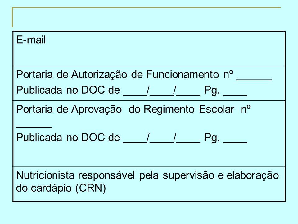 E-mail Portaria de Autorização de Funcionamento nº ______. Publicada no DOC de ____/____/____ Pg. ____.