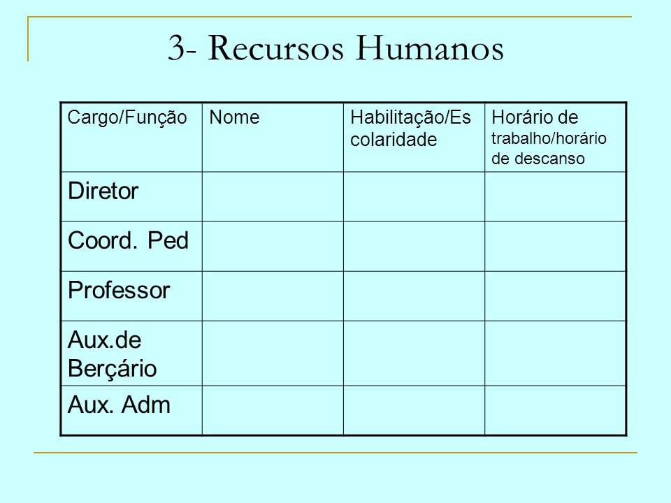 3- Recursos Humanos Diretor Coord. Ped Professor Aux.de Berçário