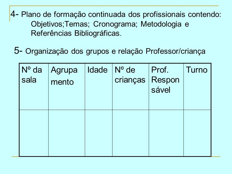 5- Organização dos grupos e relação Professor/criança