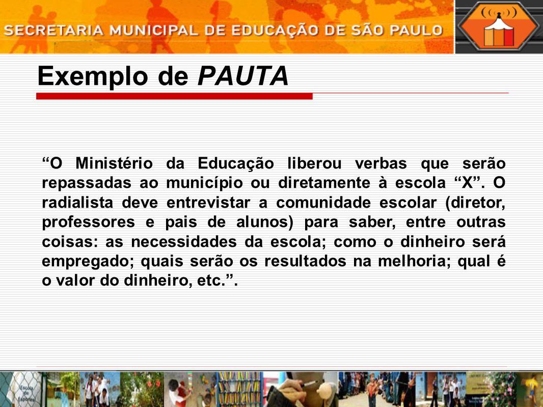 Exemplo de PAUTA