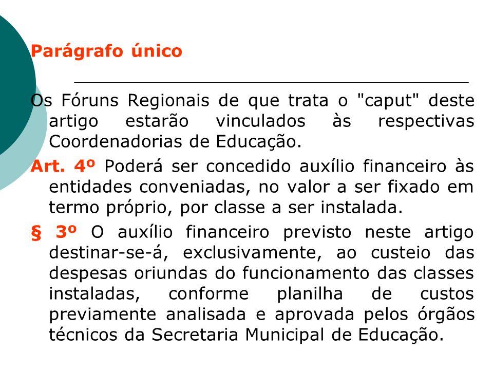 Parágrafo único Os Fóruns Regionais de que trata o caput deste artigo estarão vinculados às respectivas Coordenadorias de Educação.