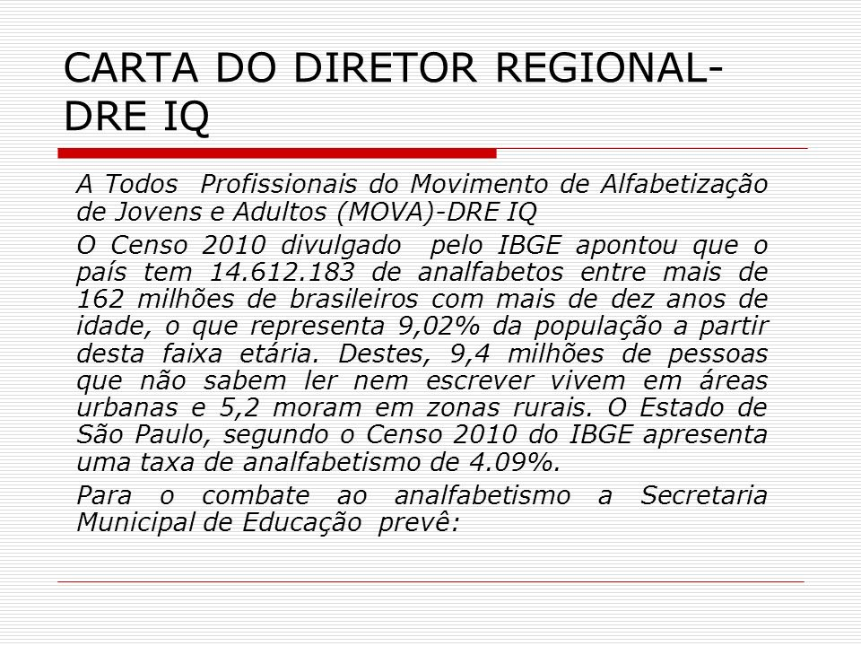 CARTA DO DIRETOR REGIONAL- DRE IQ