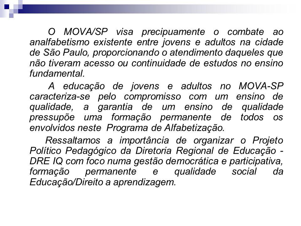 O MOVA/SP visa precipuamente o combate ao analfabetismo existente entre jovens e adultos na cidade de São Paulo, proporcionando o atendimento daqueles que não tiveram acesso ou continuidade de estudos no ensino fundamental.