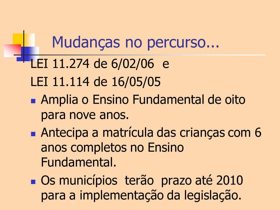 Mudanças no percurso... LEI 11.274 de 6/02/06 e LEI 11.114 de 16/05/05