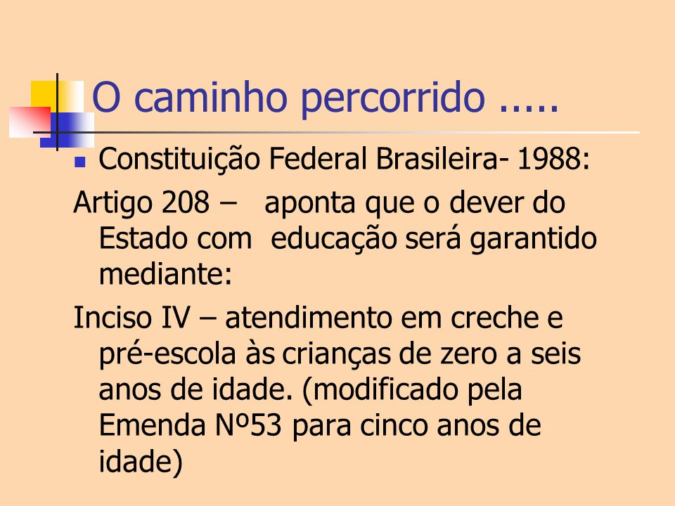 O caminho percorrido ..... Constituição Federal Brasileira- 1988: