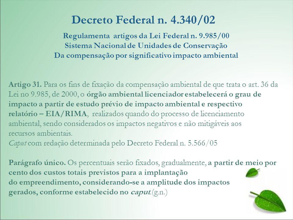 Decreto Federal n. 4.340/02Regulamenta artigos da Lei Federal n. 9.985/00. Sistema Nacional de Unidades de Conservação.