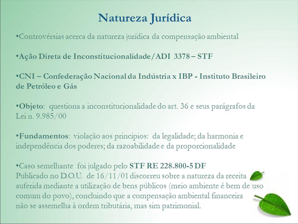Natureza Jurídica Controvérsias acerca da natureza jurídica da compensação ambiental. Ação Direta de Inconstitucionalidade/ADI 3378 – STF.