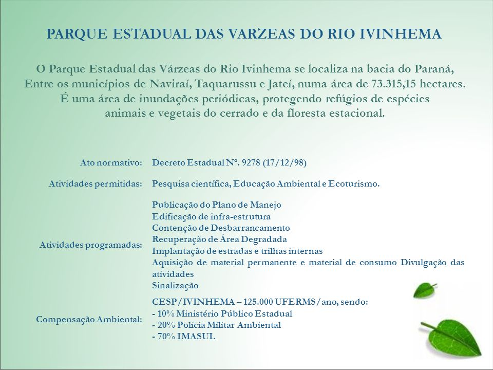 PARQUE ESTADUAL DAS VARZEAS DO RIO IVINHEMA