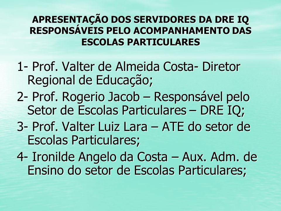 1- Prof. Valter de Almeida Costa- Diretor Regional de Educação;